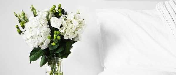 A high-contrast flower bouquet with a comfy Tempur bed beside it.