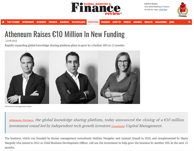 Atheneum Raises €10 Million In New Funding in Global Banking & Finance Review