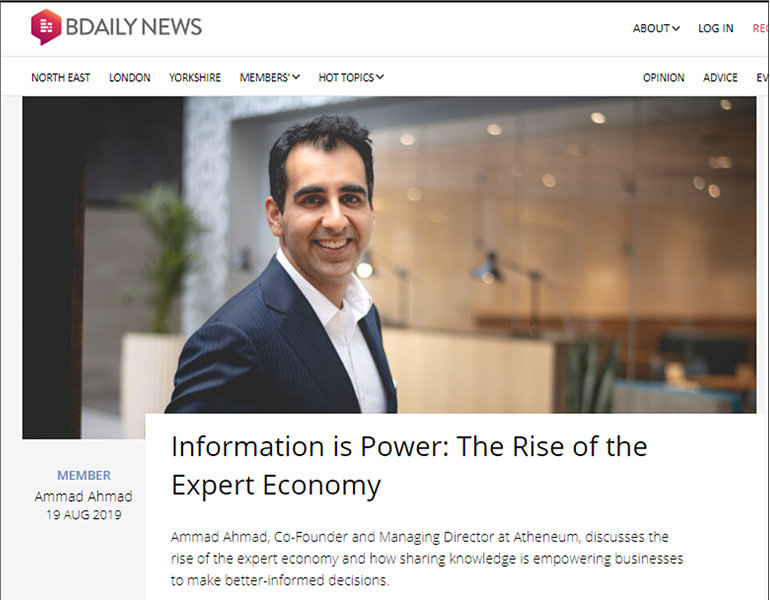 Information Is Power: The Rise Of The Expert Economy in BDaily News.