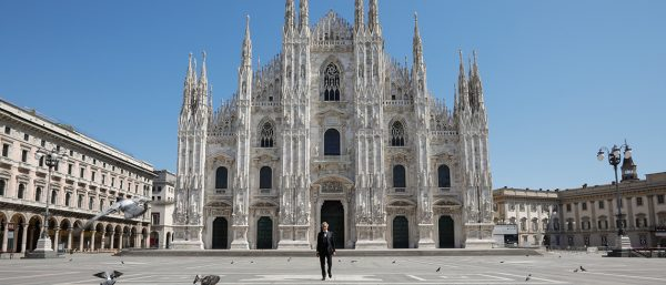 Andrea Bocelli stands before the Duomo of Milan, Easter 2020.