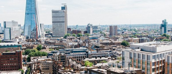 A London skyline, where rent is expensive.
