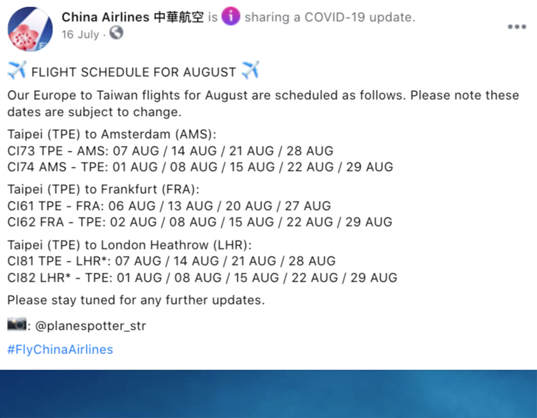 A Facebook post about China Airlines