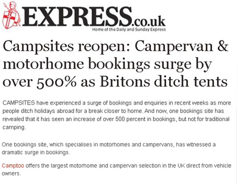 Coverage in The Express for Camptoo