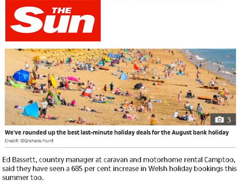 Coverage in The Sun for Camptoo