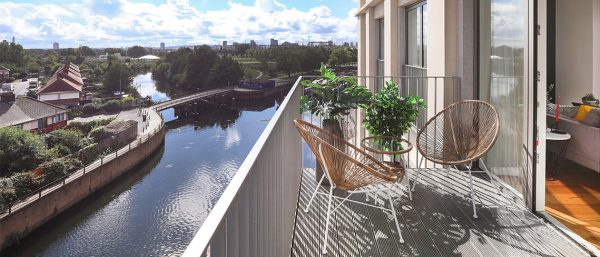 A canal-side view from Sugar House Island's Botanical Mews