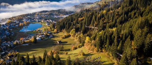 An image of a Swiss valley at Laax.